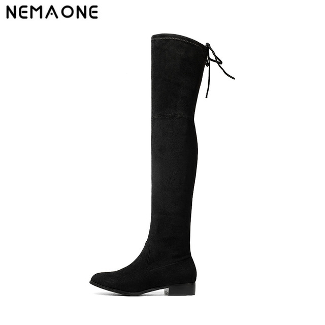 433e045b7e4 NEMAONE New Women Stretch Boots Over Knee Boots Flat Lace Up Suede Leather  Thigh High Boots Autumn Winter Shoes botas bootie