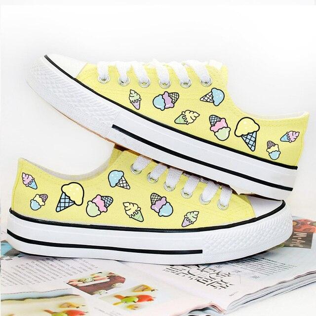 Горячая Продажа 2016 женские Туфли На Платформе Мороженое Печати Дышащие Ботинки Холстины Женщин Повседневная Обувь Женщина Плоские Катание Девушки Footwe