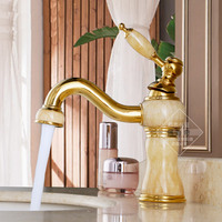 Tural Jade Full Copper Gold Marble Antique European Style Classical Tap With Cold And Hot Water