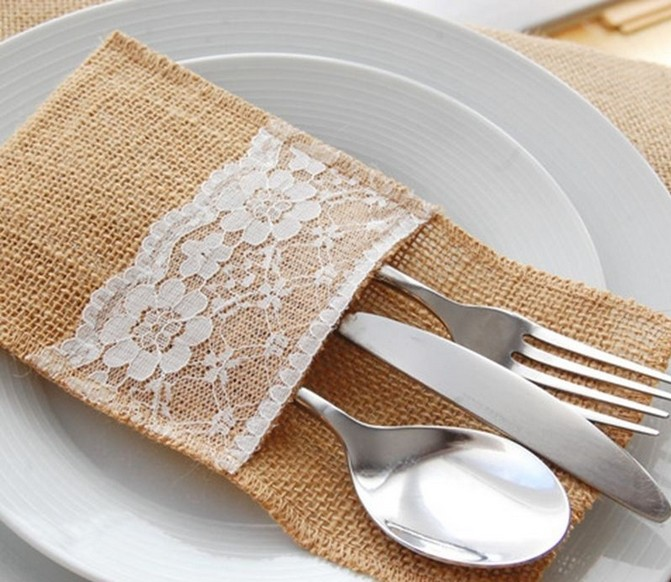 Hessian Rustic Wedding Burlap And Lace Cutlery Silverware Holder Pocket Table Decor Home 21 10cm In Gift Bags Wring