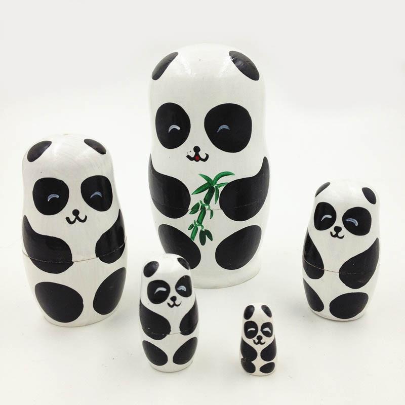 دمى الروسية ماتريوشكا الباندا التعشيش الدمى الحيوانات اليدوية رسمت ديكور ألعاب خشبية 5 قطع الطفل لعبة فتاة دمية هدية عيد