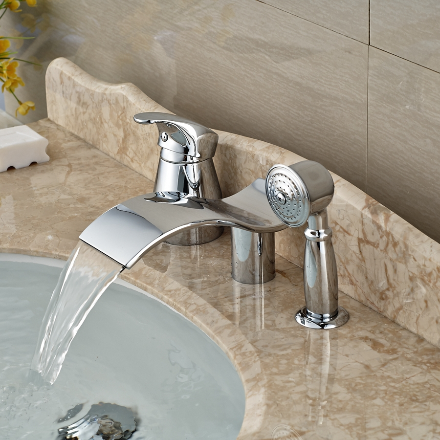 Wholesale And Retail Promotion Elegant Waterfall Bathroom Tub Faucet 3 pcs Vessel Sink Mixer Tap Diverter Unit wholesale and retail promotion elegant deck mounted shower faucet waterfall tub spout mixer tap diverter faucet