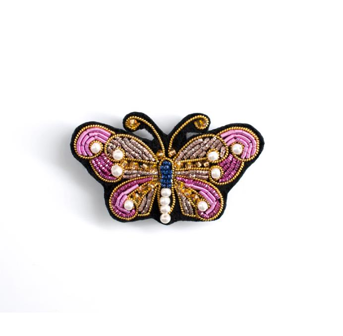 Butterfly Indian Silk Emboridered Patch Brooch Beaded Applique Patches Vintage Badge Fabric Patch Fashion Clothing Decoration