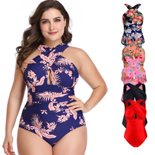 Female Sexy Plus Size Swimwear High Waist Women One-Piece Print Bikini Swimsuit Beachwear Bathing Suit