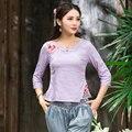 Escritório senhoras Camisas De Linho De Algodão Mulheres Bordar Flores Designs Elegantes Tops Cor Sólida Nova Primavera Blusa Tamanho Grande
