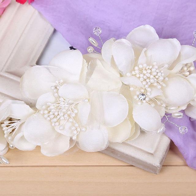 Романтические свадебные Женские аксессуары для волос для невесты элегантные Для женщин зажим для волос Ткань Цветы Кристалл Pearl заколки головной убор диадемы SL