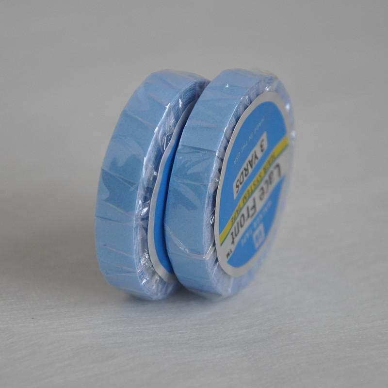 0.8cm*3yards Strong Blue Tape Double-sided Adhesive Tape For Tape Hair Extension/Lace Wig/Toupee Walker Tape buy tape give away tied monofilament base lace tape 100% super men s toupee remy natural wave men s replacement