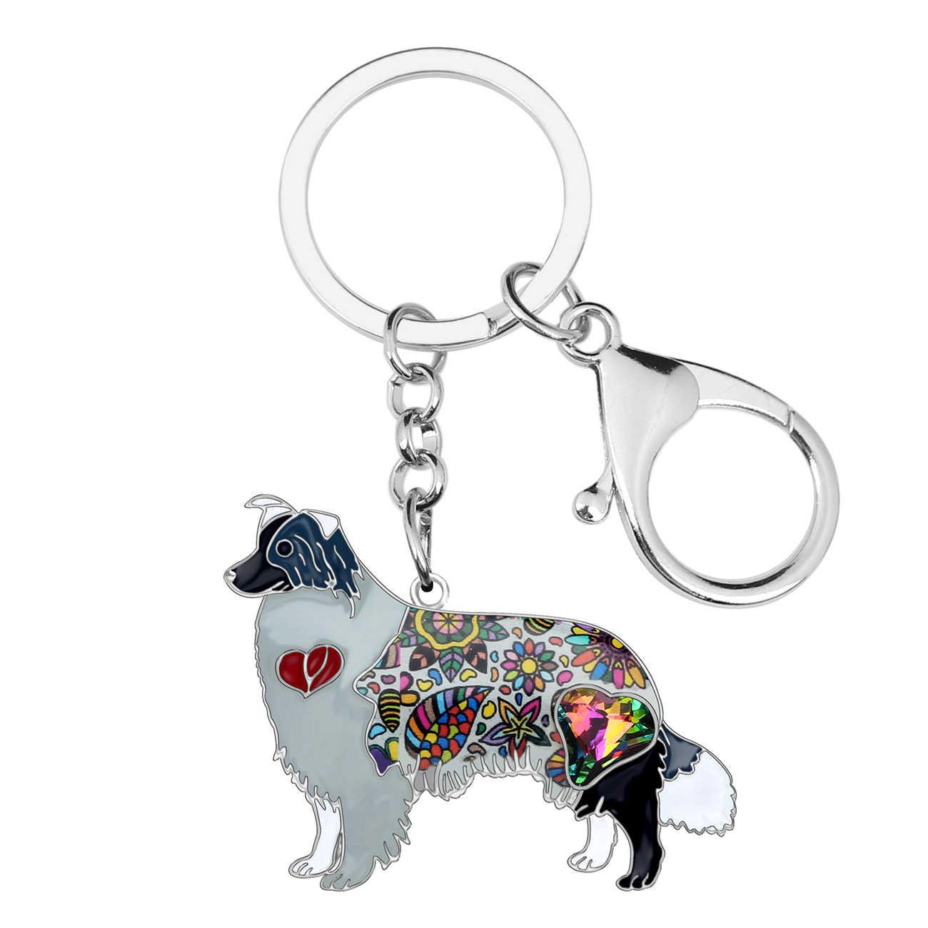 Bonsny de aleación de esmalte de diamantes de imitación frontera Collie perro clave cadenas titular de llavero Animal joyería para mujeres niñas bolso encantos regalo