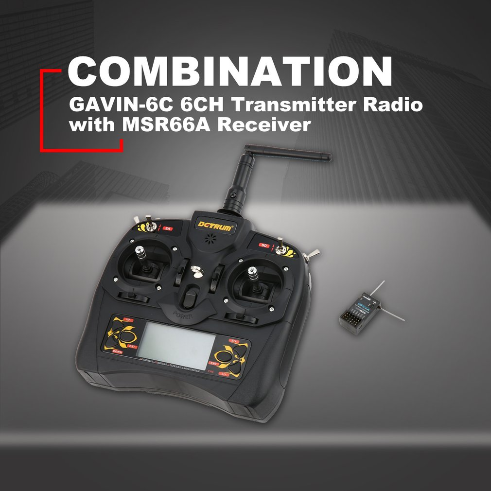 Detrum GAVIN-6C 2.4G 6CH Transmitter Radio Remote Control with DSSS&FHSS MSR66A DTM-T011 Receiver for Airplane Helicopter HOT!Detrum GAVIN-6C 2.4G 6CH Transmitter Radio Remote Control with DSSS&FHSS MSR66A DTM-T011 Receiver for Airplane Helicopter HOT!