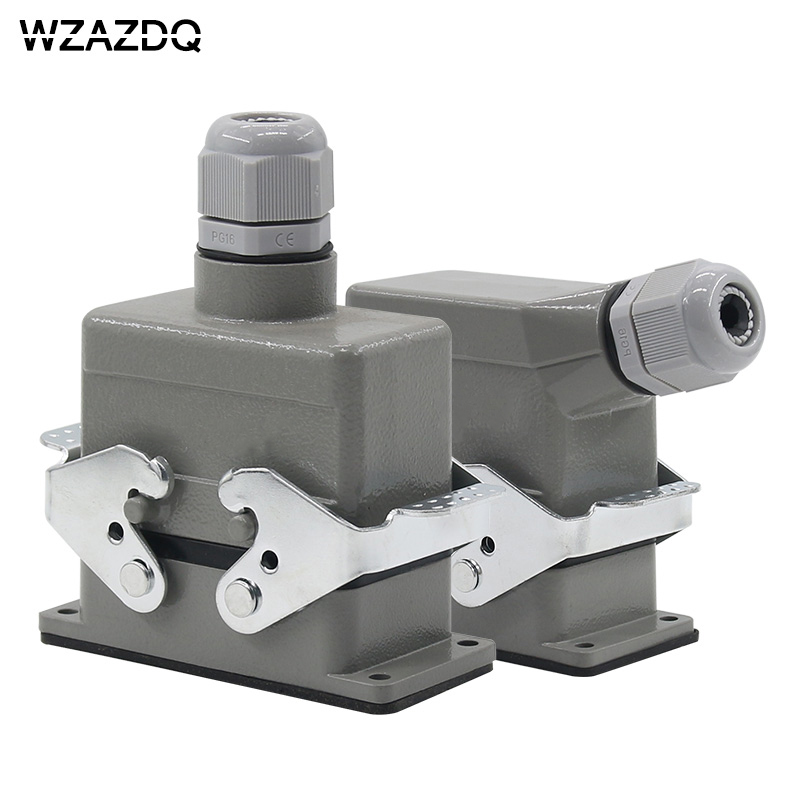 Rectangular heavy-duty connector HE-010 core industrial waterproof aviation plug socket outlet line or side outlet 16A 500V AZDQ heavy duty connectors hdc he 024 1 f m 24pin industrial rectangular aviation connector plug 16a 500v