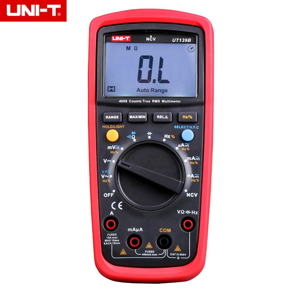UNI-T UT139B True RMS NCV 4000 Counts DMM Digital Multimeters w/ Capacitance & Frequency Test Multimetro LCR Meter my63 handheld lcd digital multimeter dmm w capacitance frequency