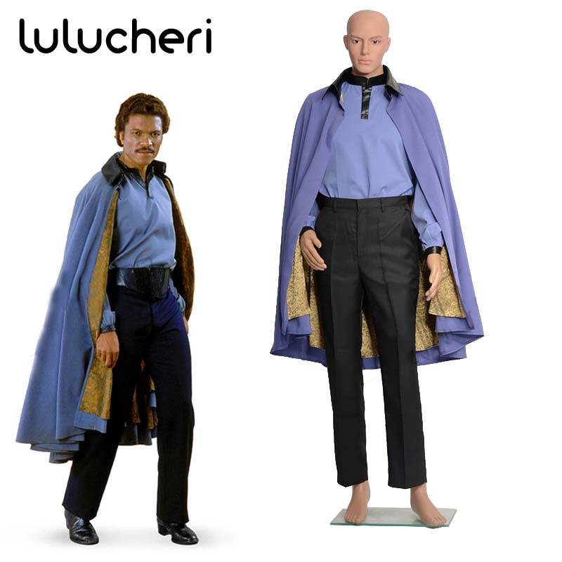 Star Wars 7 Jedi Lando Cosplay Costume Halloween Outfit Suit Blue Cloak Robe with Shirt and Pants for Man Adult