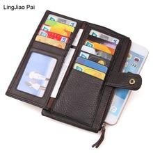 LingJiao Pai Genuine Leather Clutch Wallets Travel Male Purse Long Wallet  Men Bag Card Holder Purse Phone Holder Handbag