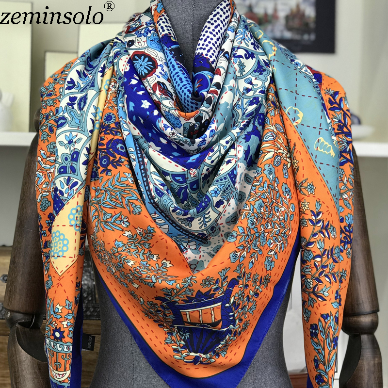 2018 Luxury Brand Spring Printed 100% Silk Twill Scarves Women Bandana Large Square Silk Scarf Shawl Wraps Foulard 130x130cm