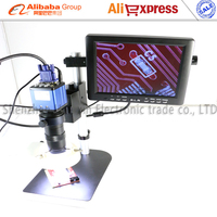 VGA Industrial Microscop CCD Camera with 130X C lens LED light stand holder+8 LCD Monitor for BGA PCB phone repair