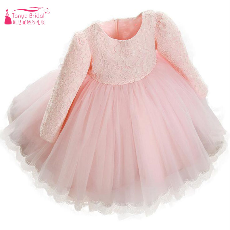 Pink Lace   Flower     Girl     Dresses   For Wedding And Party Long sleeve Cute Kids Formal Wear In Stock Cheap China Vestidos ZF075