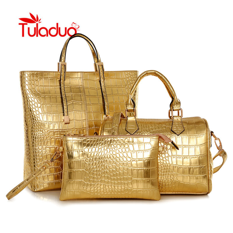 ФОТО Tuladuo Handbags Set Women Bag Gold Crocodile Pattern PU Leather Women Handbag Composite Bags Women Messenger Bags Large Purse