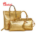 Tuladuo Handbags Set Women Bag Gold Crocodile Pattern PU Leather Women Handbag Composite Bags Women Messenger Bags Large Purse