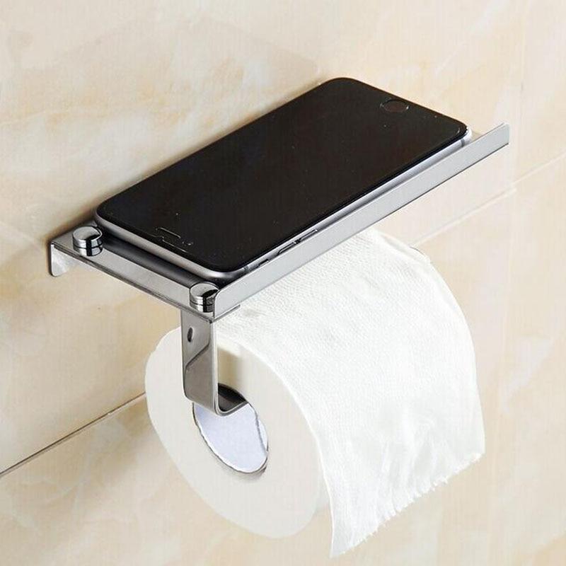 Stainless Steel Simple Paper Roll Rack Holder Toilet Tissue Holder Box Mobile Phone Rack
