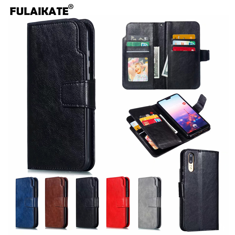FULAIKATE Crazy Horse Flip Case for Huawei P20 Business Soft Back Cover HW EML-AL00 Stand Phone Protective Cases 9 Card Set