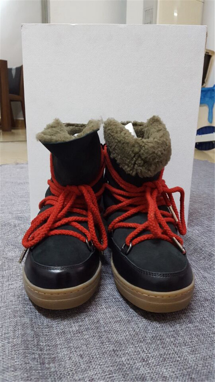 High Quality Women 100% Winter Natural Fur Boots Genuine leather snow boots lace-up with Red shoelaces Wedge Ankle Boots Women de la chance winter women boots high quality female genuine leather boots work