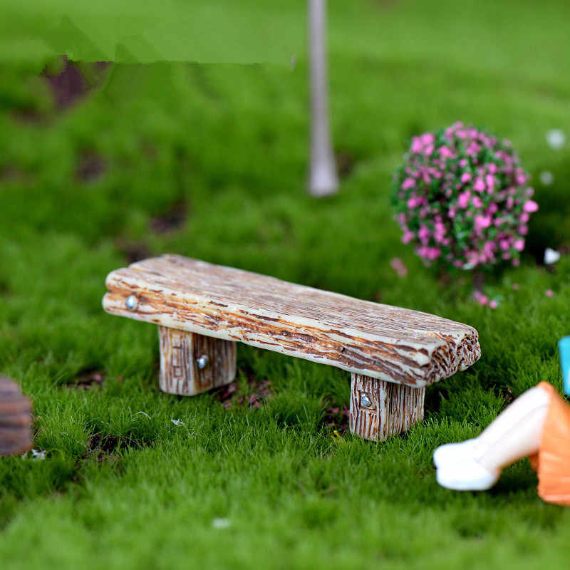 1 pcs Long Wood Bench Miniature Figurine Fairy Garden Accessories Doll House Decoration Cartoon Animal Models Plastic Girl Toy