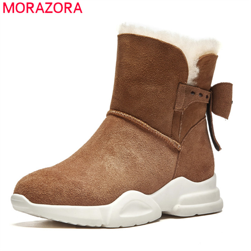 MORAZORA 2018 new arrival cow suede leather short snow boots round toe comfortable flat shoes warm womens winter boots femaleMORAZORA 2018 new arrival cow suede leather short snow boots round toe comfortable flat shoes warm womens winter boots female