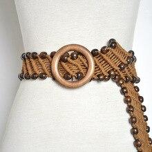 Pure Manual Handmade Wax Rope Woven Wood Bead Bohemian National Waist Belt For Dress BZ121