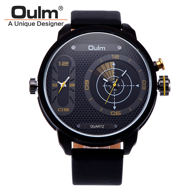 Oulm Brand Mens Fashion Sport Outdoor Quartz Watch 2 Time Zone Fashion Black Military Wristwatches With Gift Box Relogio Releges oulm brand mens rectangle leather strap hand wind mechanical watch fashion casual wristwatches with gift box relogio releges