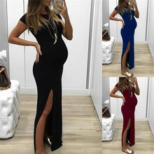 цена на Pregnant Tight Open Long Dress Women Solid O-Neck Short Sleeve Maternity Dress Spring Summer Short Sleeve Pregnancy Clothes