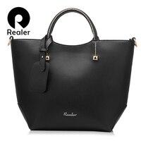REALER Brand Handbag Women Large Bucket Shoulder Bag Female High Quality Artificial Leather Tote Bag Fashion