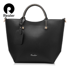 REALER women handbag women large bucket shoulder bag female high quality artificial leather tote bags fashion top-handle bag