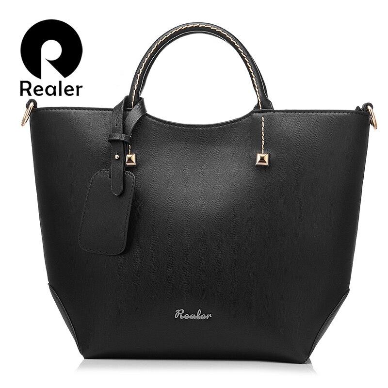 REALER women handbag women large bucket shoulder bag female high quality artificial leather tote bags fashion