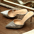 US5-9 Womans Sequined Genuine Leather Summer Pointy Toe Sandal Ladies Silver Sexy High Heel Shoes