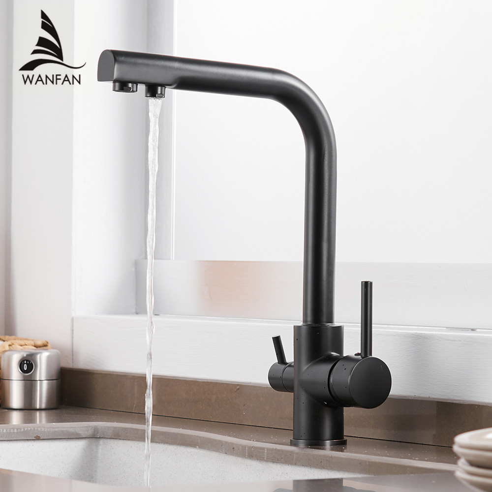 Kitchen Faucets Solid Brass Crane For Kitchen Deck Mounted Water Filter Tap Three Ways Sink Mixer 3 Way Kitchen Faucet WF-0183