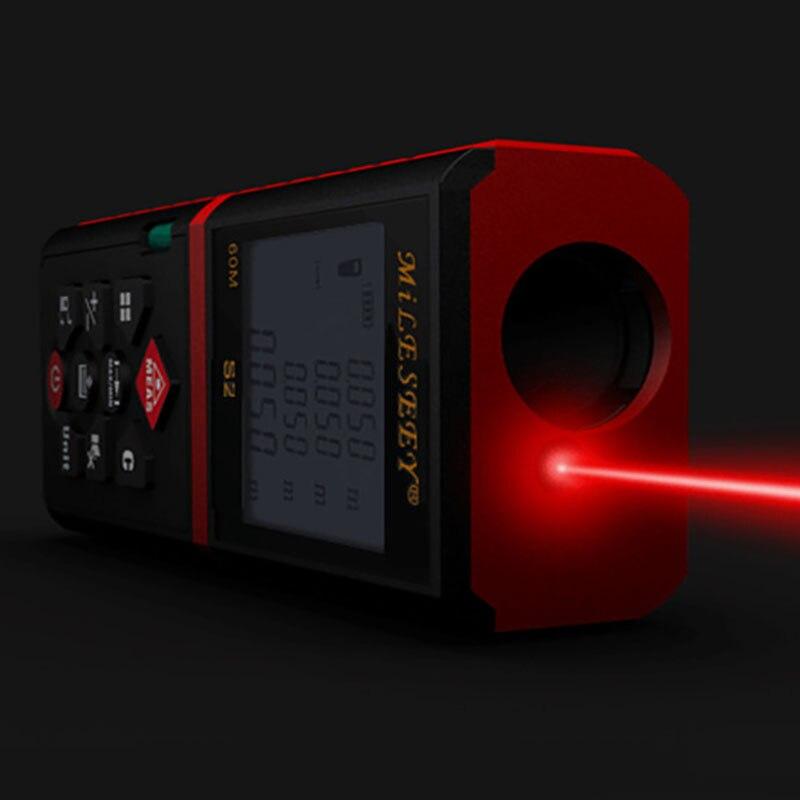 Mileseey S2 60M Laser Rangefinder Measuring Tool Digital Distance Meter Power Button Device