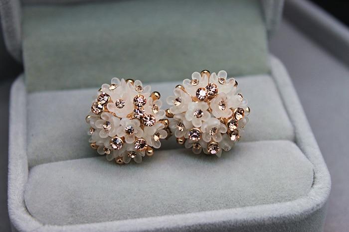 2015 New Fashion Wedding Jewelry For Women,Gold color Austrian Crystal Enamel Flower Stud Earrings Fashion Female Earrings