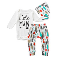 Baby Boys Male Infants Kids Letter Long Sleeve Overalls Romper Tops Printed Tree Long Pants Hat