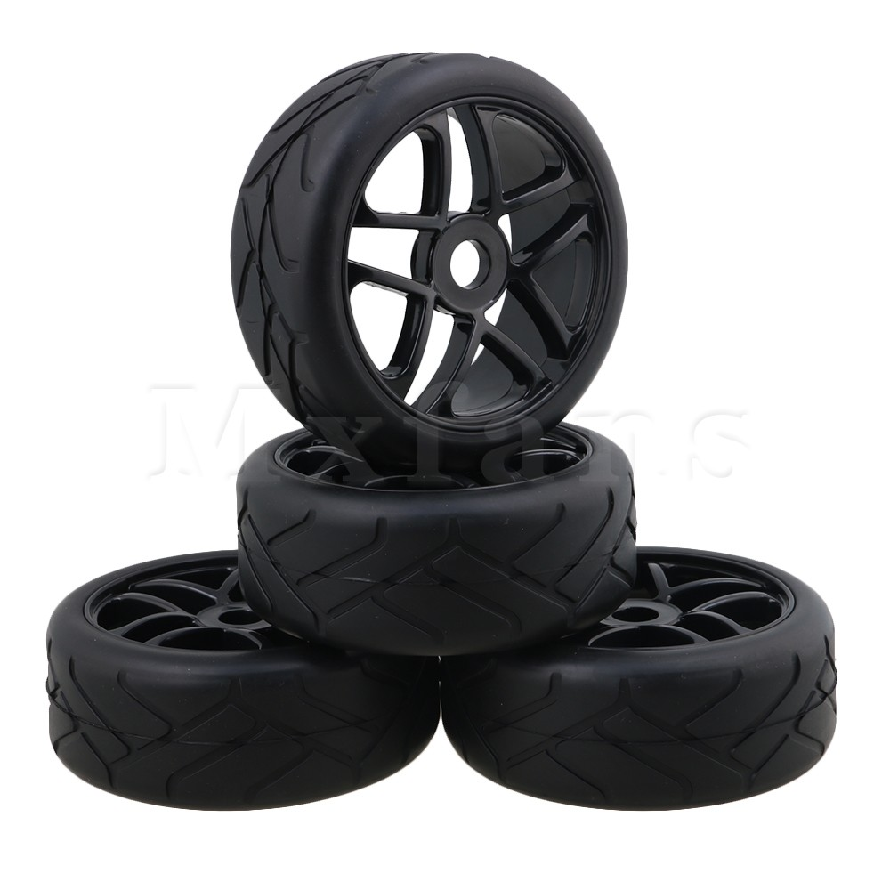 Mxfans Black RC1:8 Off-Road Car Flower Pattern Rubber Tyre & Plastic Triangular 5-Spoke Wheel Rim with 17mm Drive Hex Pack of 4 hd w82 replacement universal rubber plastic wheel for 1 8 truck black white 2 pcs