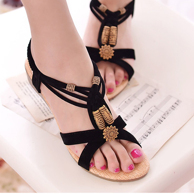 LAKESHI Women Sandals Bohemian Summer Women Shoes Fashion Sandals Wedge Shoes String Bead