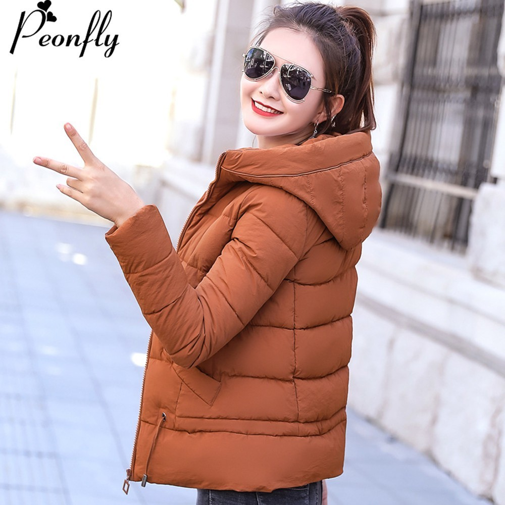 PEONFLY turn-down collar Hooded Winter   Jacket   Women Autumn   Basic     Jacket   Ladies Female Coat Coats Outwear Casaco Feminino