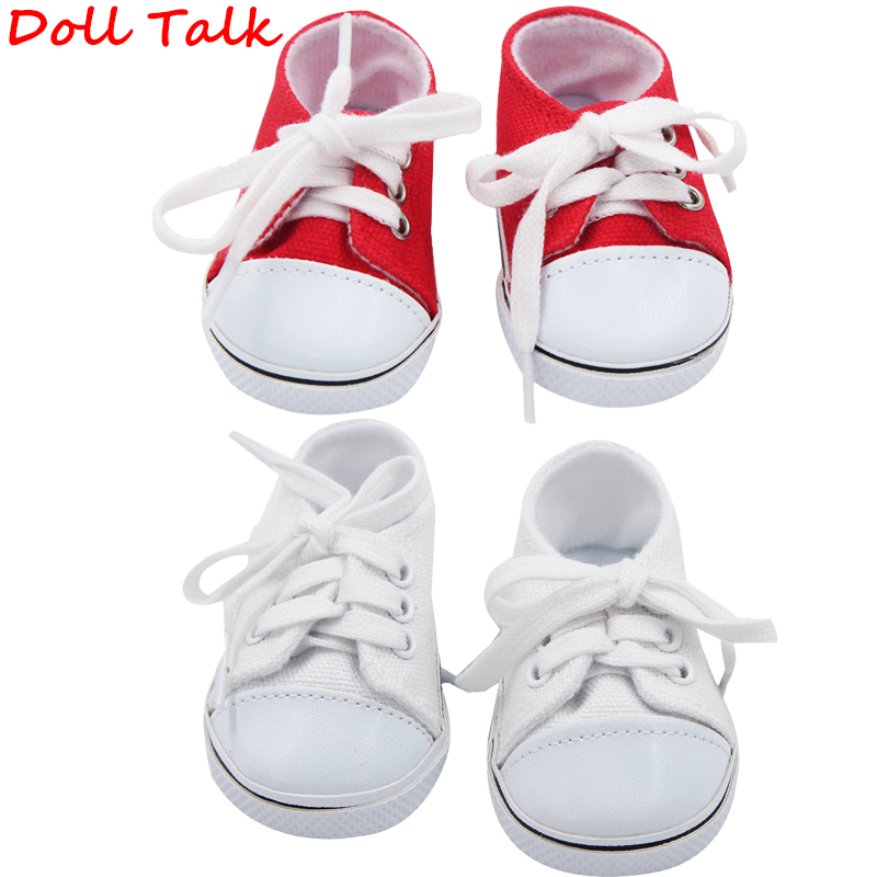 Doll Talk Baby Doll Fashion Canvas Sneakers Shoes For 18 Inch Girl&Girl Dolls Accessories Shoes Roundhead Lace-up Canvas Shoes