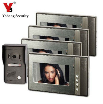 YobangSecurity 7inch Color Video Door Phone Doorbell Security Entry Access Control System 4 Monitor 1 Metal Camera Night Vision new 7 inch color video door phone bell doorbell intercom camera monitor night vision home security access control
