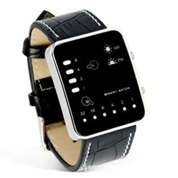 цена на Splendid NEW Watch Fashion Digital Red LED Sport Wrist Watch Binary Wristwatch PU Leather Women Mens Clock Relogio Feminino