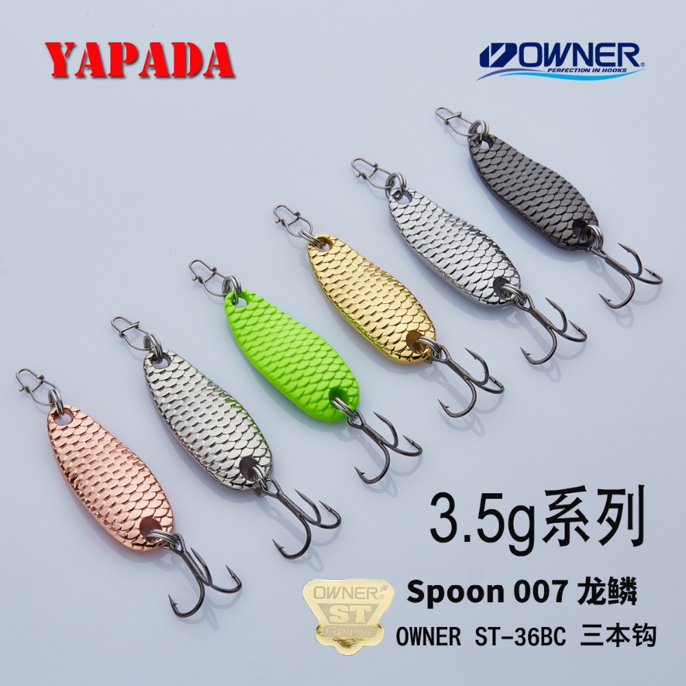 YAPADA Spoon 007 Loong Scale 3.5g 32X12mm OWNER Treble Hook Multicolor In lega di zinco Metal Spoon feather Fishing Lures spigola