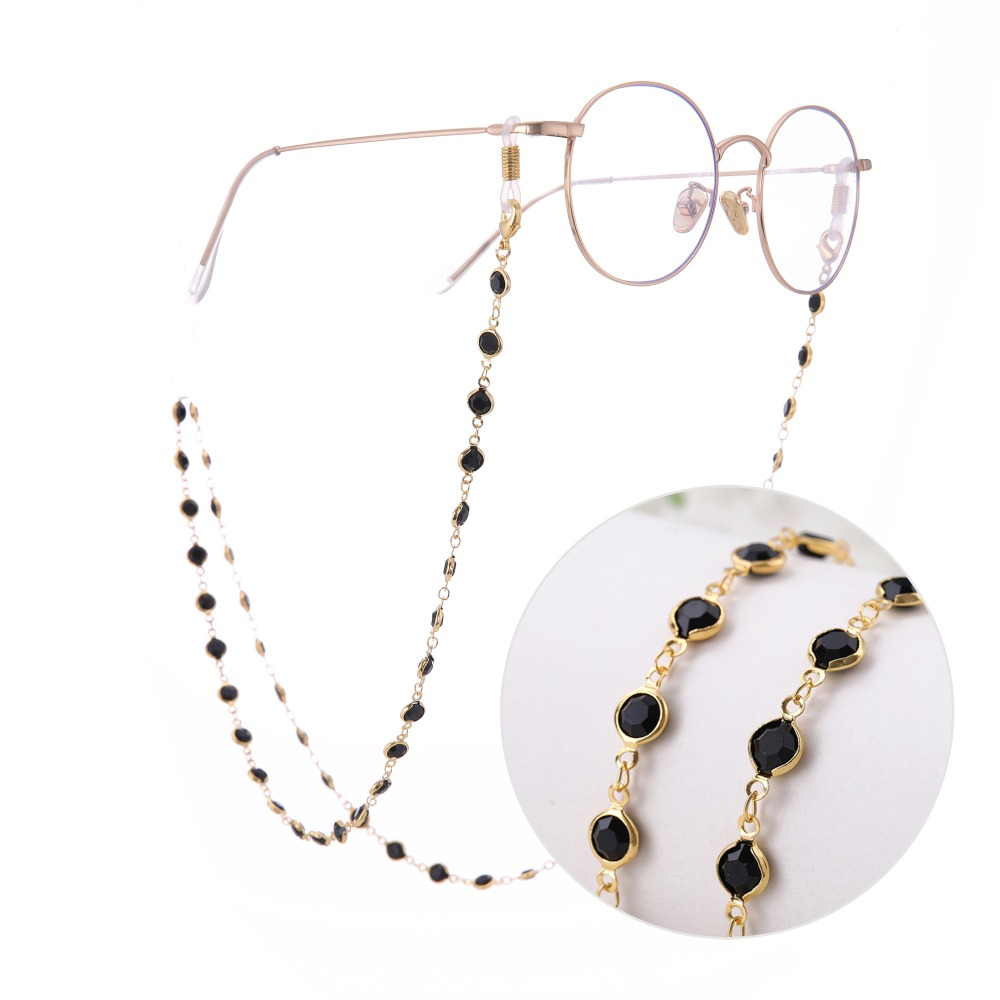 Lemegeton Black Crystal Beads Eyeglass Chain Glasses Cord Lanyard Rope For Reading Sunglasses Strap Holder Glasses Accessories