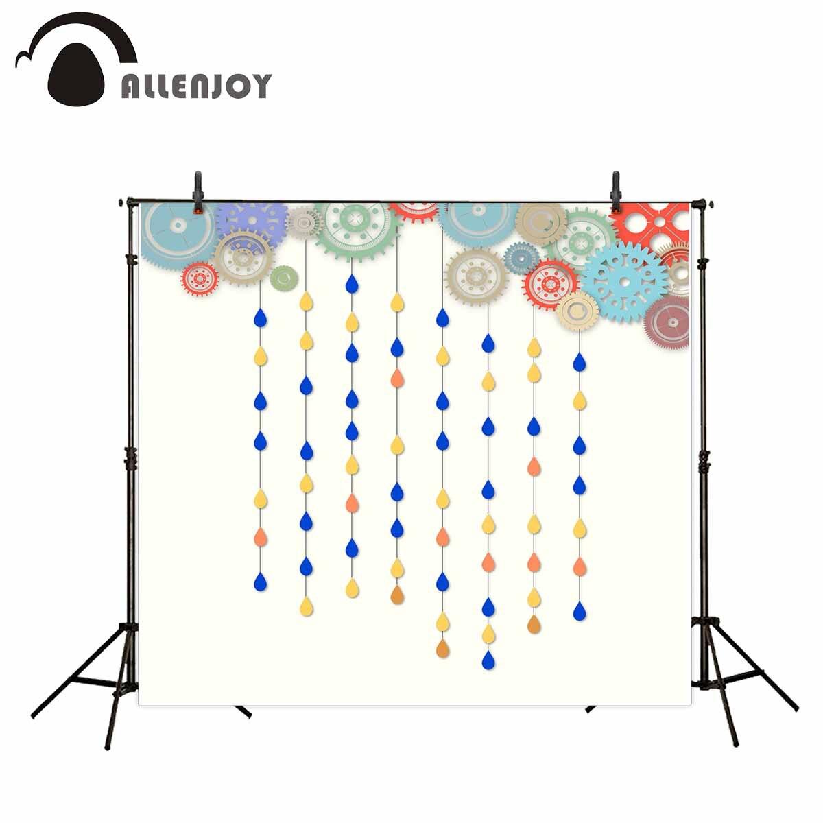 Allenjoy photographic backdrop colorful gear sevilla raindrop baby background photocall photobooth vinyl cloth fabric