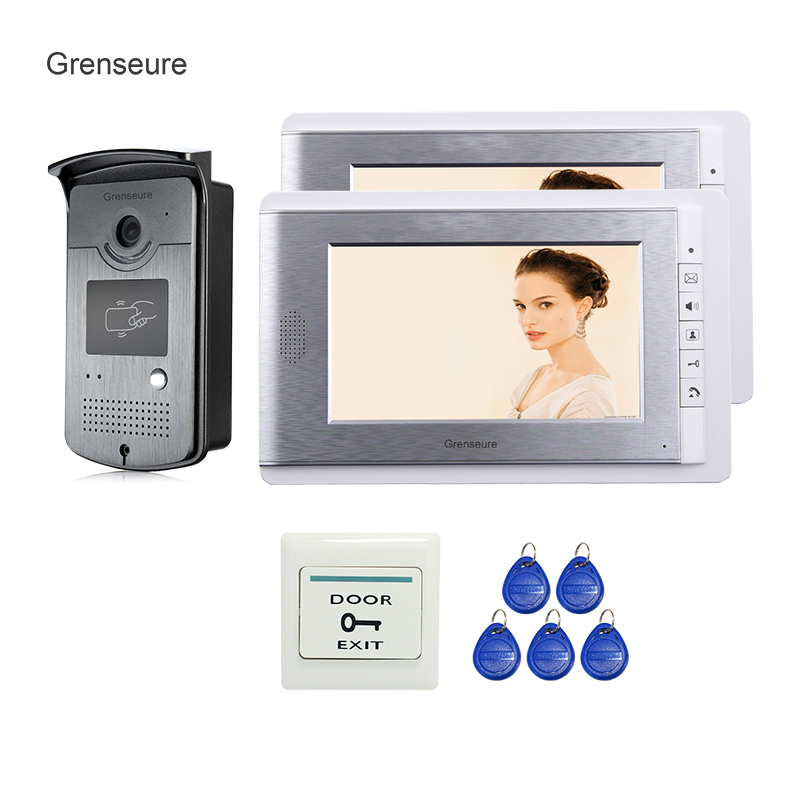 Free Shipping Hot & New Home 7 Video Intercom Entry Door Phone System 2 Monitors + RFID Access Reader Camera In Stock Wholesale wired 7 video door phone intercom doorbell entry system 2 monitors villa house waterproof camera in stock free shipping