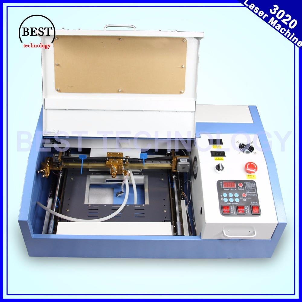 Haute qualité 110/220 V 40 W 200*300mm Mini CO2 Laser graveur gravure Machine de découpe 3020 Laser avec USB Sport