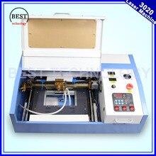 Haute Qualité 110/220 V 40 W 200*300mm Mini CO2 Graveur Laser Machine De Gravure De Coupe 3020 Laser avec USB Sport